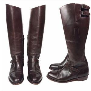 FRYE Dorado Buckle Riding Knee High Boots Brown 8